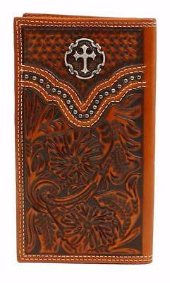 Ariat Mens Western Rodeo Wallet Cross Concho Embossed Leathe