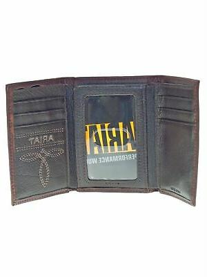 Ariat Tri-Fold Wallet Diagonal Leather Brown