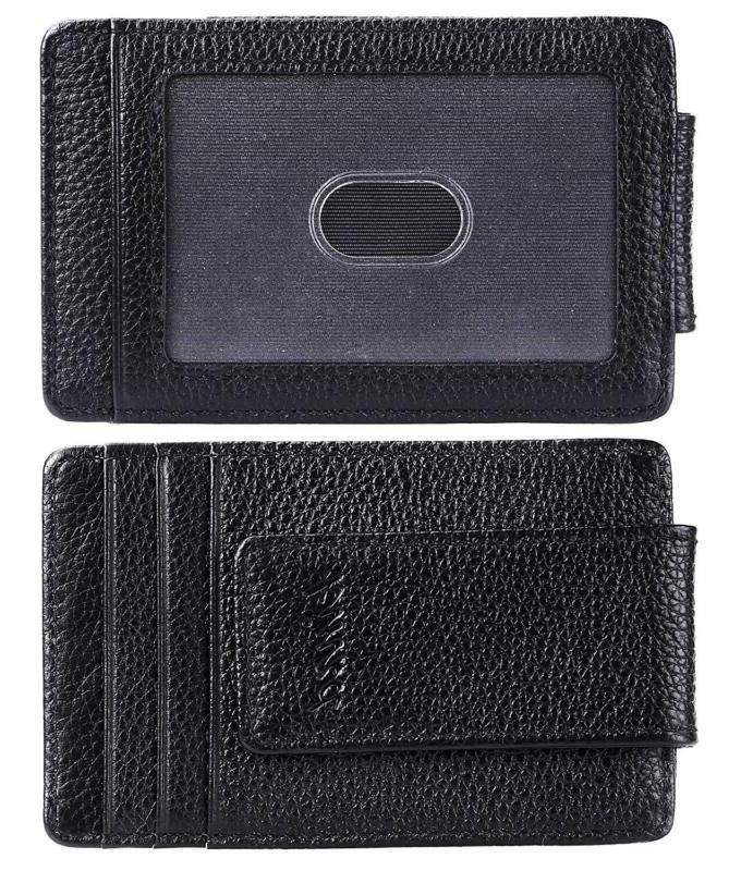 Money Clip, Wallet, Leather Rfid Strong Thin