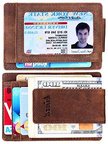money clip front pocket wallet leather rfid