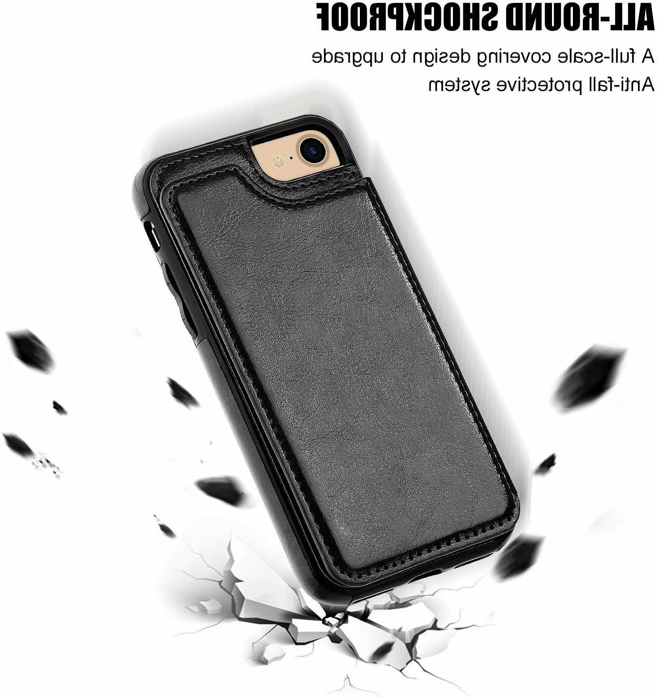 iPhone 7 Plus 8 Leather Card Holder Wallet Cover for