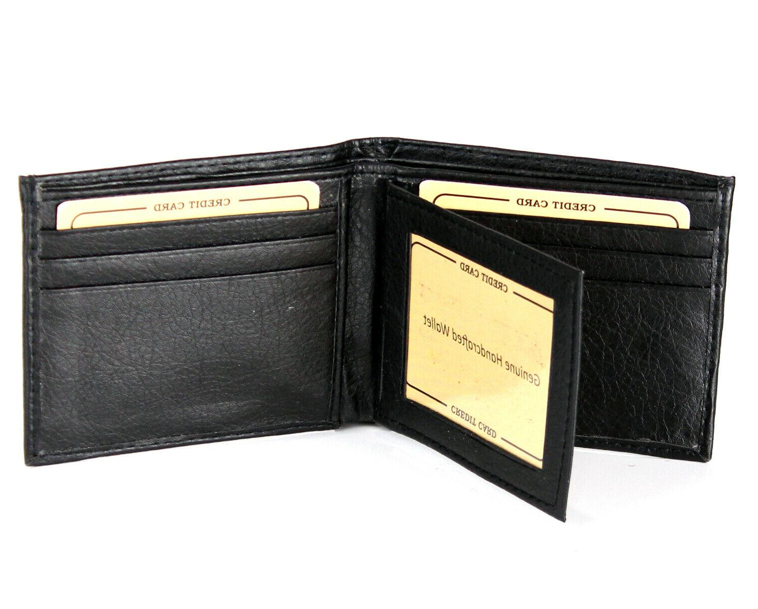 New Mens Leather Black Id License Thin Soft