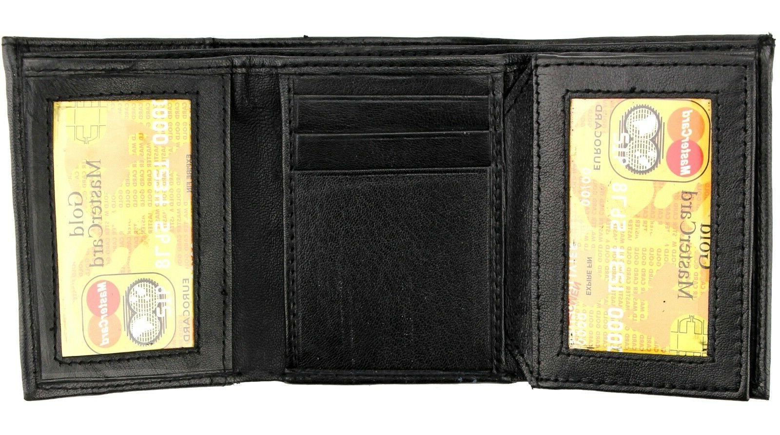 New Mens Black Leather ID Window Case Holder