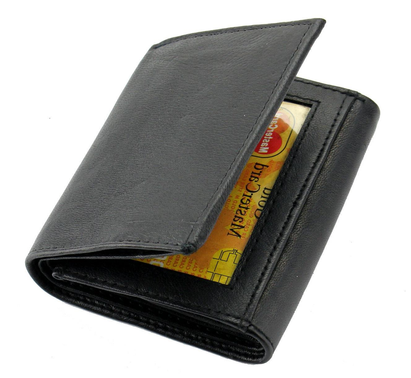 New Black Genuine Leather Trifold Wallet Window Credit Holder