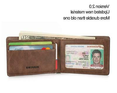 NEW HISSIMO Mens Front Pocket Wallet ID Window