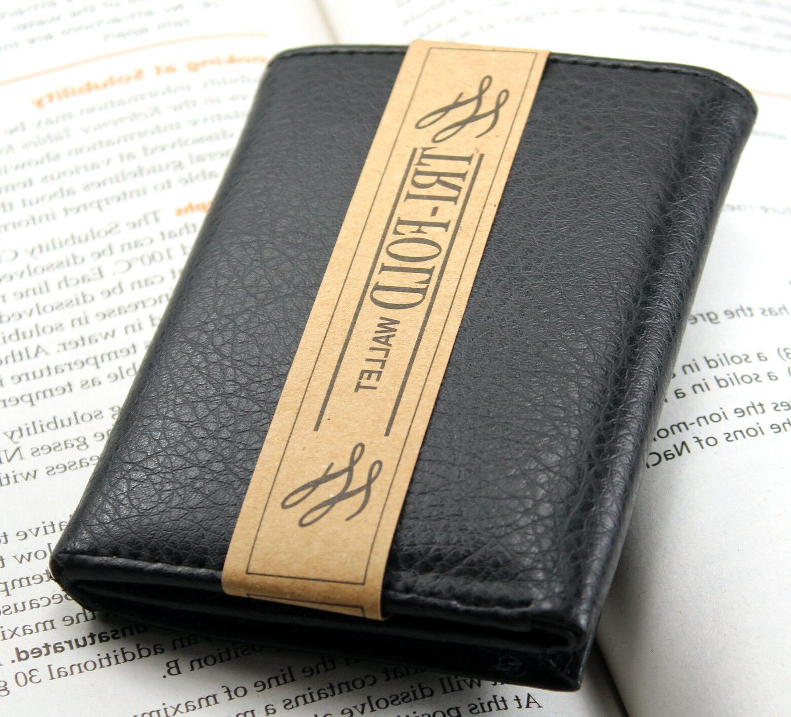 New Trifold Leather Card Case Window ID Holder