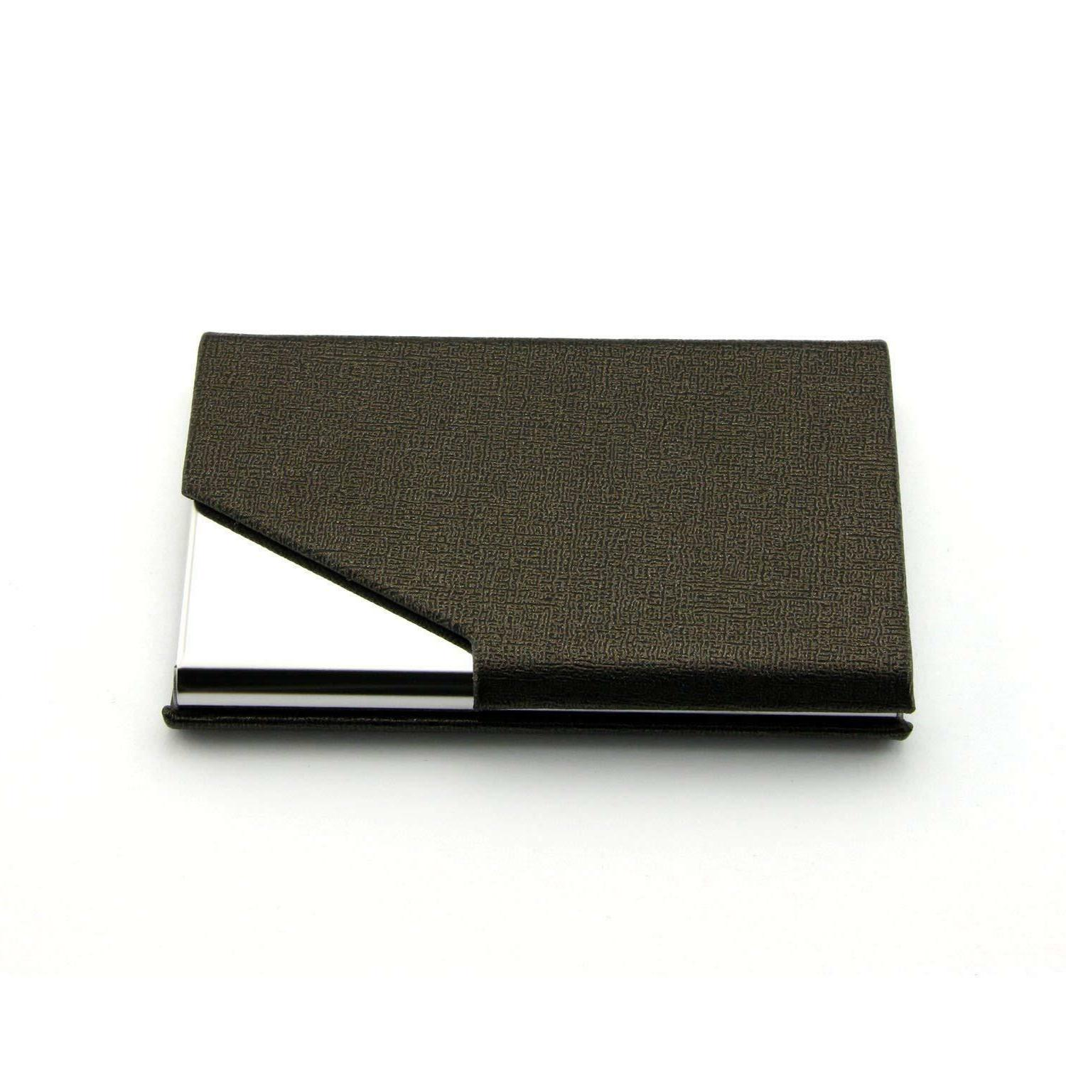 pu leather pocket metal business id credit