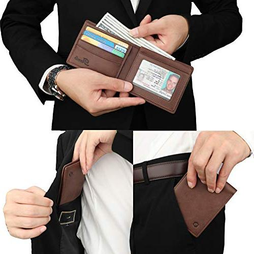 RFID Cowhide Bifold Wallet with
