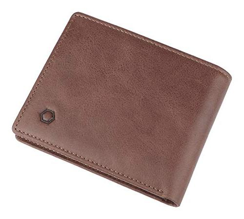 RFID Blocking Cowhide Bifold Wallet Men with Windows
