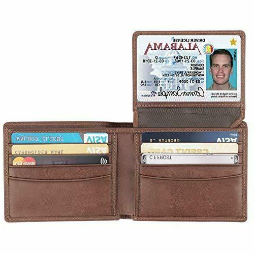 rfid blocking cowhide leather bifold wallet