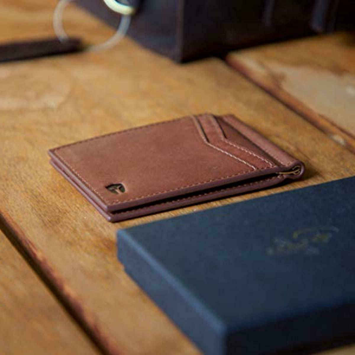 RFID Blocking Leather Wallet Slim with Money Clip 9 Slot
