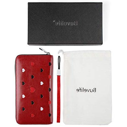 Buvelife RFID Wallets Women,Credit wallet Leather Credit Card with Zipper