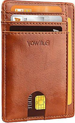 Slim Genuine Leather Wallet Men Women RFID Blocking Front Po