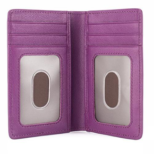 Slim Leather ID/Credit Card Holder Wallet with - Purple
