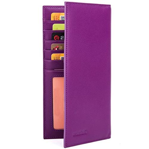 Slim Leather ID/Credit Card Holder Long Wallet with RFID Blo