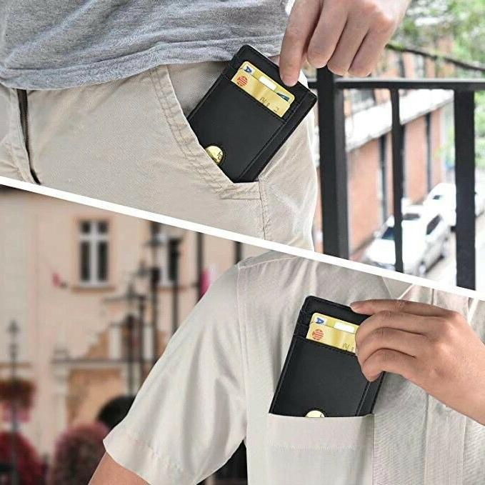 Slim Minimalist Front RFID Blocking Leather Wallets for Mens