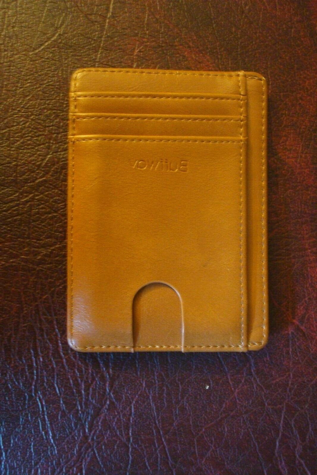 slim wallet tan brown