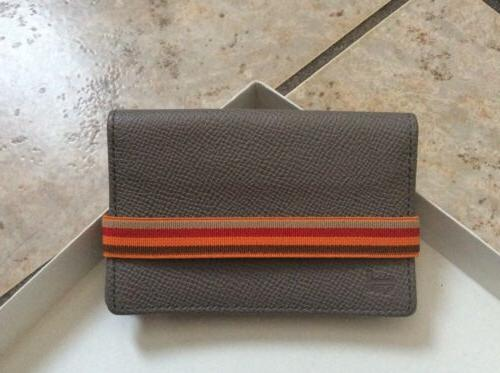 tods leather card holder w elastic band