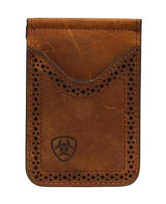 Ariat Western Mens Wallet Leather Card Case Clip Medium Brow