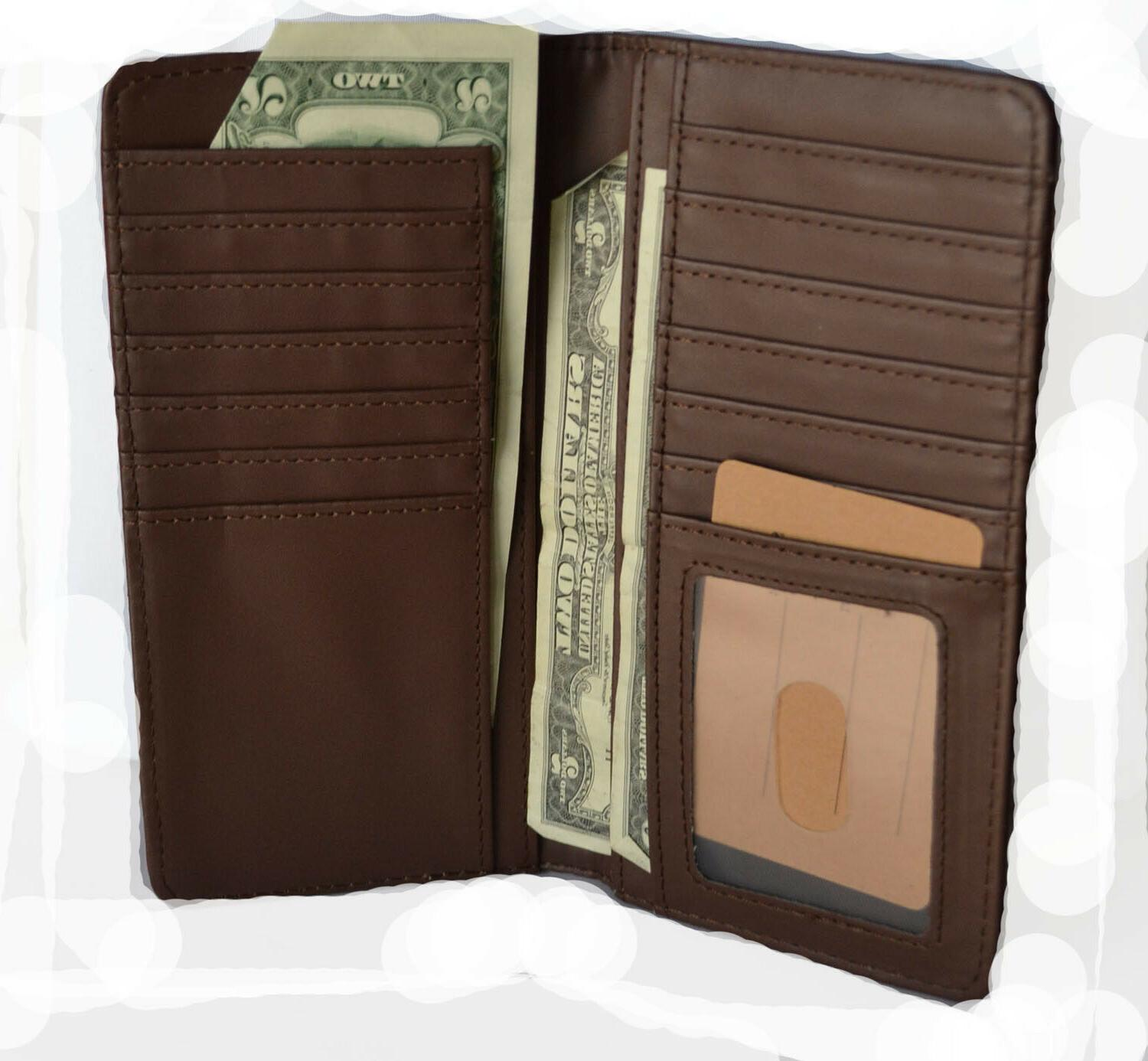 Western wallets for mens Horse Texas State Long Brown