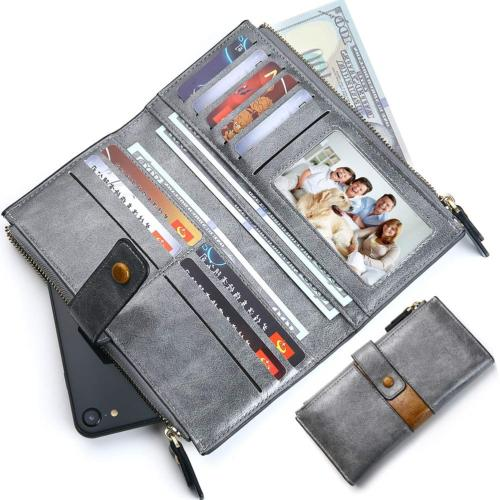 women long credit card wallet rfid blocking