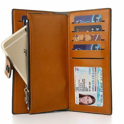 Buvelife Women's Wallets Wax Leather Card Holder Wallet Ladies ...