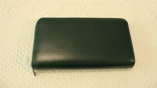 women s solid leather credit card clutch