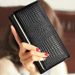 Ladies Long Wallet With Zipper Coin Purse Card Phone Holder