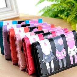 Lady Mini Wallets PU Leather Cat  Purse Card Holder For  Gir