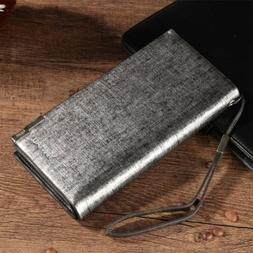 Long Wallet Men Purse Long Bifold Business PU Leather Money