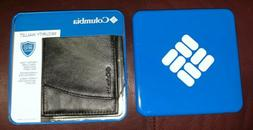 COLUMBIA Leather Security Black Wallet Anti RFID NIB