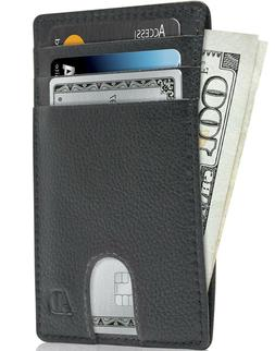 Leather Slim Minimalist Front Pocket Cardholder Wallets For