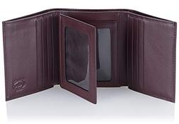 Stealth Mode Leather Trifold RFID Wallet For Men With Flip O