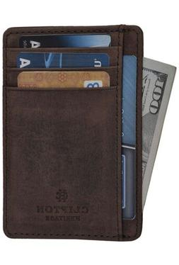 Clifton Heritage Leather Wallet BROWN CRAZY HORSE - RFID Sup