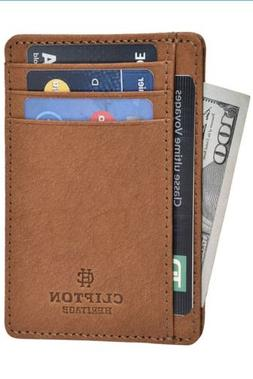 Clifton Heritage Leather Wallet COGNAC VINTAGE WAX - RFID Su