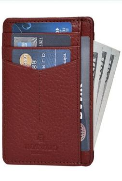 Clifton Heritage Leather Wallet RED PEBBLE CURVE - RFID Supe