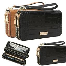 Aitbags Leather Women Double Zip Around Wallet Clutch Purse