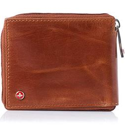 Alpine Swiss Men's Leather Zip Around Wallet ID Card Window