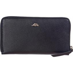 Roots 73 Leather Zip-Around Wallet with RFID - Black Women's