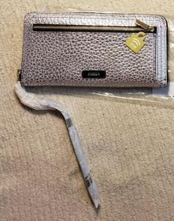 Fossil Logan RFID Zip Around Clutch Silver Metallic Leather