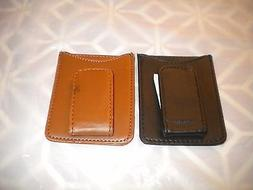 LOT OF 2 Leather Wallet Credit Card ID Holder Money Clip 1 B