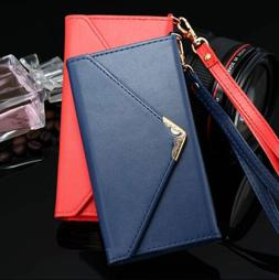 New Luxury Women Lady Leather Envelope Wallet Case For iPhon