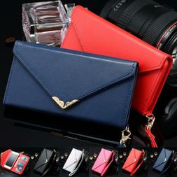 Luxury Women Lady Leather Envelope Wallet Case For Samsung G