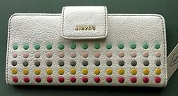 Fossil Madison Clutch White Multi with colored brads accent