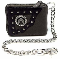 Men Biker Leather Western Zipper Bi-fold Chain Wallet Longho