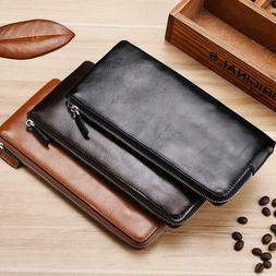 Men Casual Business Men Long Solid  Zipper Thin Wallet with
