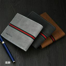 Men Leather Bifold Id Card Holder Purse Wallet Billfold Hand
