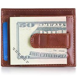 Alpine Swiss Mens Money Clip Genuine Leather Minimalist Slim