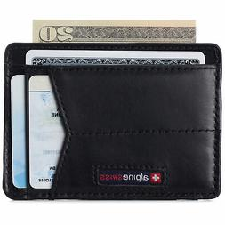 Alpine Swiss Men RFID Safe Minimalist Front Pocket Wallet Le