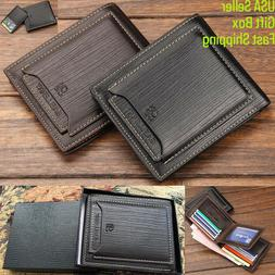 Men's Bifold Leather Wallet +Gift Box ID Credit Sim Card Hol